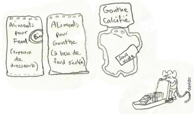 il ne faut pas confondre nourriture pour gonthes et nourriture avec gonthes